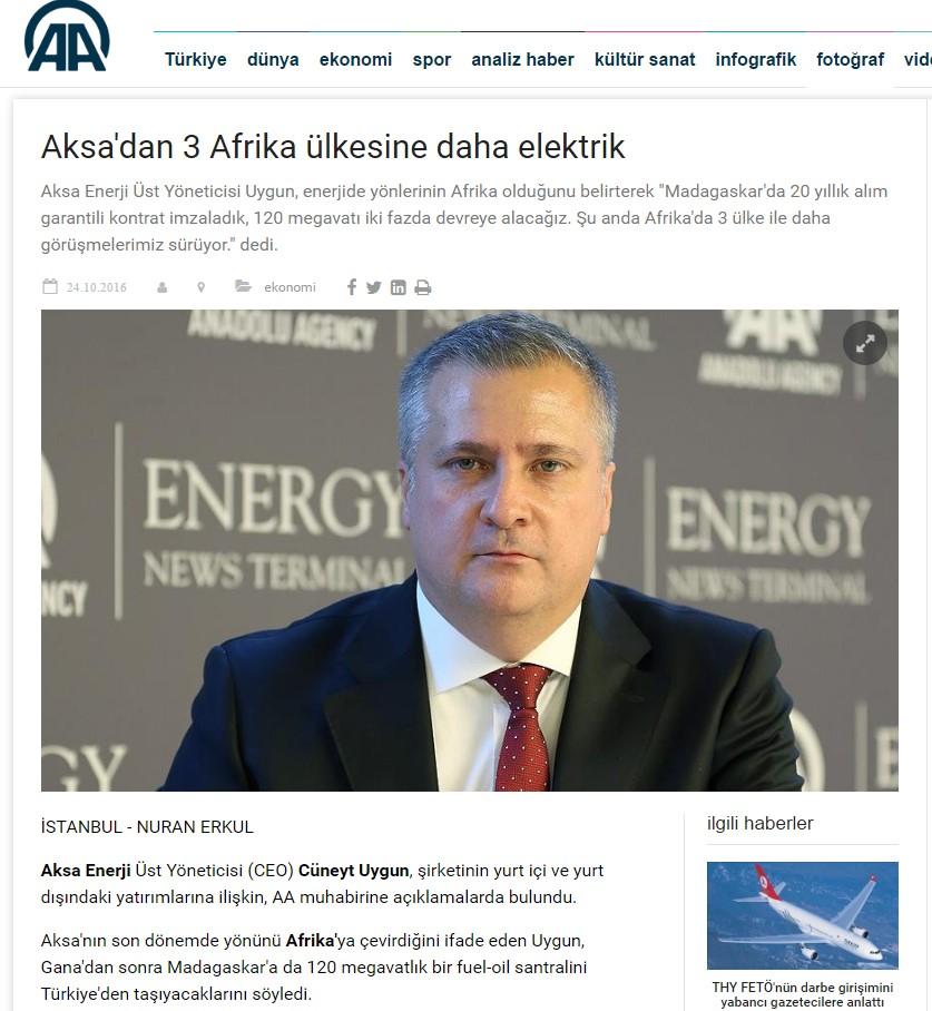 AKSA ENERJİ CEO VE YÖNETİM KURULU ÜYESİ CÜNEYT UYGUN ANADOLU AJANSI'NIN SORULARINI CEVAPLADI