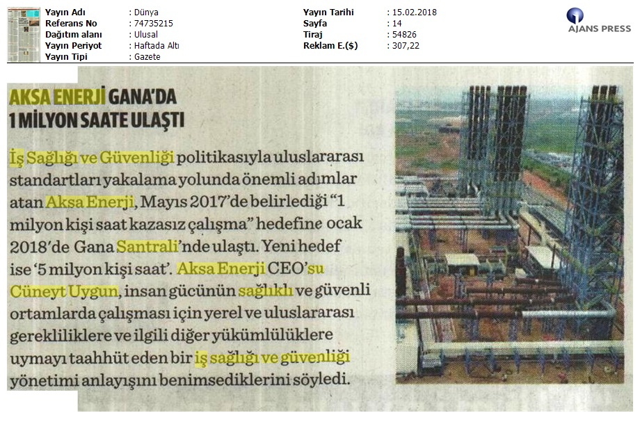 """AKSA ENERJİ GANA SANTRALİ'NDE  """"KAZASIZ 1 MİLYON SAAT"""" HEDEFİNE ULAŞTI"""